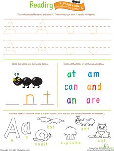 Worksheets: Beginning Reading: All About the Letter A