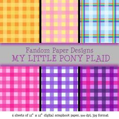 My Little Pony Plaid  Digital Scrapbook by FandomPaperDesigns