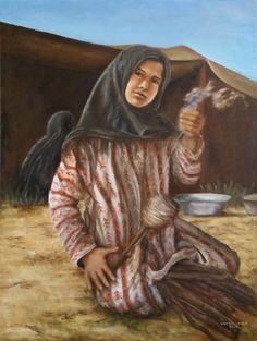 A Bedo girl spinning yarn in the in the desert. Islamic World, Islamic Art, Spinning Yarn, Lower Case Letters, Art Projects, Project Ideas, Artist, Color Codes, Oriental