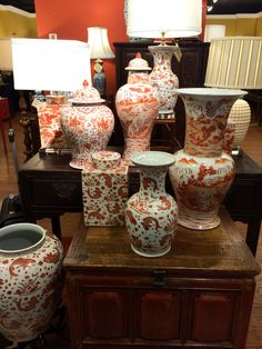 Orange and white chinoiserie porcelain