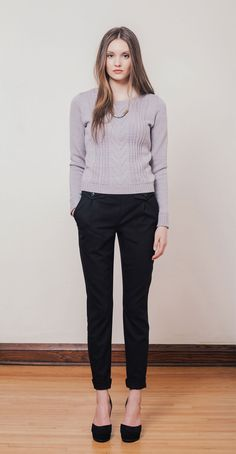 MILAN Grey: Long-sleeved knit sweater in Italian merino wool knit in Montreal. ENN Black: High-waisted wool pants with side pockets and decorative front flaps. Betina Lou Fall-Winter 2014-15.  Necklace by @lalayeah