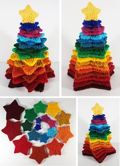 """Free Knitting Pattern for Stacking Stars Tree - Knitting pattern for nine different sizes of garter stitch stars, ranging from 2 - 6"""" which can be stacked together to make a Christmas or other tree. All the stars are knitted from the same basic formula; you just work more repeats for the bigger sizes. Designed by Frankie Brown."""
