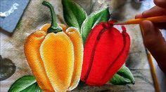 como pintar Pimentão amarelo e vermelho em tecido