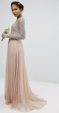Sequin and tulle skirt maxi dress, ASOS. High street bridesmaid dresses 2018 #bridesmaids #bridesmaiddress