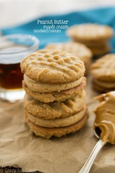 These Peanut Butter Sandwich Cookies are filled with peanut butter maple cream filling!