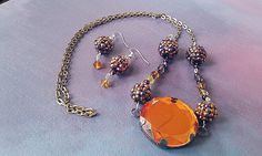 Shane's Orange Autumn Shamballa Necklace Set by DontinaCreations, $20.00