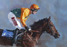 'Concentration' by Lisa Miller oil on board 24 x 34 inches www.thepaintedhorse.co.uk FFos Las Racecourse, Wales £1650