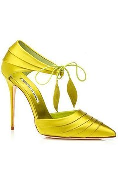 Manolo Blahnik Yellow Sandal #Manolos #Shoes #Heels WWWOOOOWW!!!luv this..want this:) ~ LOVELY, I just wish it was on a MUCH shorter, wider wedge for me
