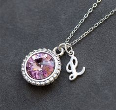 June Birthstone Necklace, Personalized Initial Jewelry, Alexandrite Silver Letter Necklace, New Mom Necklace