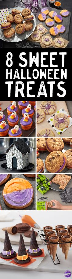 8 Sweet Halloween Treats - Each Halloween, we're creating all kinds of spooktacular creations that are perfect for your Halloween celebrations. Here's a round up of our newest Halloween treats including witch's hats, spider eye cookies, and a haunted gingerbread skull house.