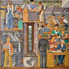 This Coit Tower Public Works Art Project (PWAP) mural by Suzanne Scheuer illustrates newspaper production from add purchase to street sales.
