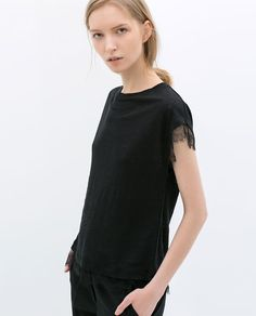 ZARA - WOMAN - T-SHIRT WITH LACE DETAIL