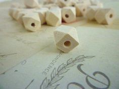 Geometric Wooden Beads - Natural - 10mm