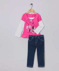 Take a look at this Dark Pink Cat Tunic & Jeans - Infant, Toddler & Girls by Young Hearts on #zulily today!