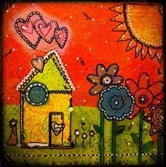 mixed media canvas painting - Lots of detail and bright colors!! Love this!