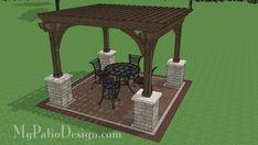 12x12 Cedar Pergola Design with Columns | Downloadable Plan – MyPatioDesign.com
