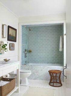Maine Attraction Miles 39 s bathroom Love the carrera marble with sea blue tiles in the shower Family Bathroom, Master Bathroom, Beautiful Small Bathrooms, Tiny Bathrooms, Maine, Bathroom Renos, Washroom, Bathroom Renovations, Basement Remodeling