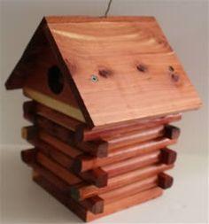 Log Cabin Cedar Birdhouse