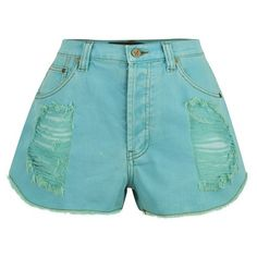 MINKPINK Women's Riptide Slasher Shorts - Aqua (69,035 KRW) ❤ liked on Polyvore featuring shorts, blue, destroyed jean shorts, high-waisted denim shorts, high-waisted jean shorts, blue shorts and distressed denim shorts
