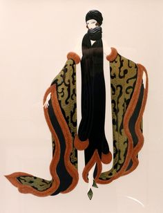 Buy online, view images and see past prices for Erte Fashion Art, Vintage Fashion, Fashion Design, Erte Art, Romain De Tirtoff, Art Deco Artists, Art Deco Period, Fox Fur, Illustration Art