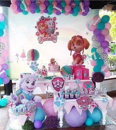 Balloon Colors With Light Pink Or Purple Table Cloth Paw Patrol Birthday Decorations Girl