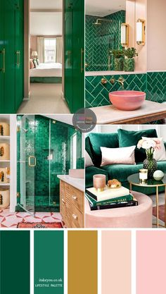 color palette of green emerald with pink and gold accents. Beautiful color palette of green emerald with pink and gold accents.Beautiful color palette of green emerald with pink and gold accents. Lovely Dorm Room Ideas To Tare Room Décor To The Next Level Gold Bedroom, Bedroom Green, Green Rooms, Teal Bedroom Decor, Living Room Green, Gold Color Palettes, Green Colour Palette, Green Accent Walls, Accent Colors