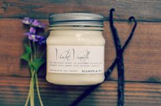 Violet Vanilla - Mason Jar Candle - woodland violet, bourbon vanilla by MasonandWax on Etsy https://www.etsy.com/listing/195840272/violet-vanilla-mason-jar-candle-woodland #masonjarcandle #soycandle #violet #vanilla
