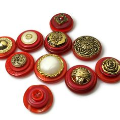 Red Magnets, Button Magnets, Vintage Style. $11.50, via Etsy.