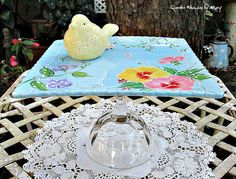 Yellow Bird Cupcake Plate Whimsy / by GardenWhimsiesByMary on Etsy