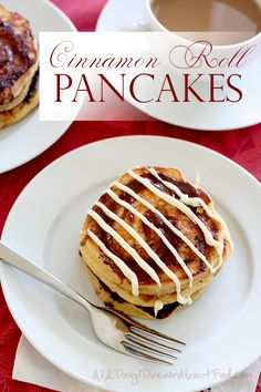 Almond flour and coconut flour pancakes with a sweet cinnamon swirl and a drizzle of cream cheese frosting.