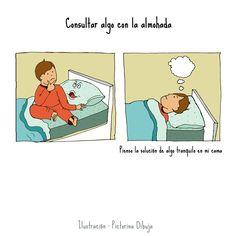 Dibujos para niños con T.E.A. y sus padres.: Frase hecha : Consultar algo con la almohada