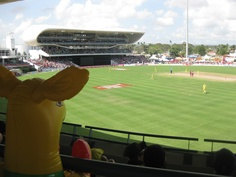 Champ watches the boys in action in Barbados