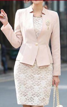 Uniform design red black grey formal business suits for women office work woman skirt suits ladies blazer set with skirt – Artofit Womens Dress Suits, Suits For Women, Clothes For Women, Blazer Fashion, Fashion Outfits, Net Fashion, African Fashion Dresses, Classy Dress, Mode Outfits
