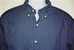 Ralph Lauren Men's Classic Fit Button Down Plaid Shirt XL XLarge Blue Brown Polo #RalphLauren #ButtonFront