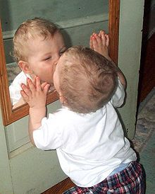 Mirror in the bathroom - The mirror stage is a concept in the psychoanalytic theory of Jacques Lacan. The mirror stage is based on the belief that infants recognize themselves in a mirror (literal) or other symbolic contraption which induces apperception (the turning of oneself into an object that can be viewed by the child from outside of himself) from the age of about six months.