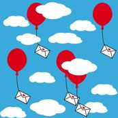 Ballons with love letter by heimatkinder, click to purchase fabric