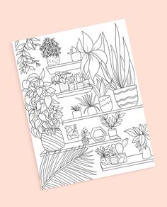 Art Collages, Collage Art, Free Coloring Pages, Coloring Books, Page And Plant, Diy Bookmarks, Plant Shelves, Mini Paintings, Card Patterns