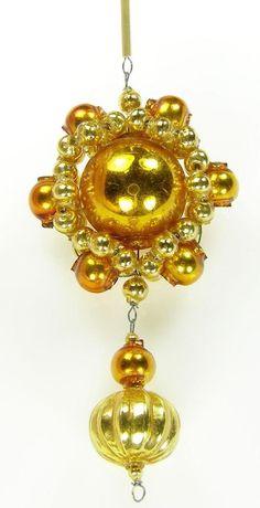 0e292d50b364de Old Blown Hollow Glass Beads Czech Christmas Decoration Golden Mirror 4