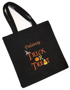 This Halloween trick or treat tote bag can be personalized with your child's name!