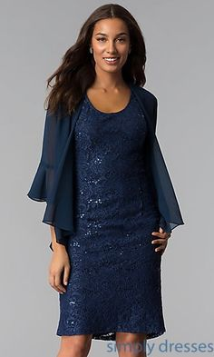 Short Lace Mother-of-the-Bride Dress with Jacket Chiffon Jacket 6c5d1a0fee8e