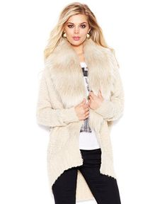 GUESS Faux-Fur Trim Oversized Cocoon Cardigan