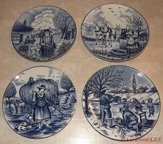 "Set of 4 Japan Blue & White Farm Scene Plates - 7.25"" / Horses Windmills People"