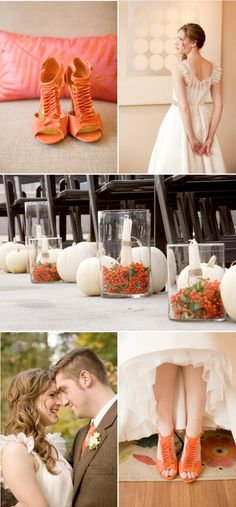 I love the aisle decor as a more modern look for a fall wedding.