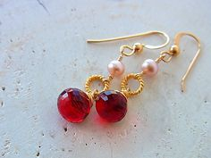 Red Dangle Earrings Valentine Jewelry Red and Gold Freshwater Pearl 14Kgold filled earrings Wire wrap earrings  Red Quartz Earrings by QuietRobin on Etsy