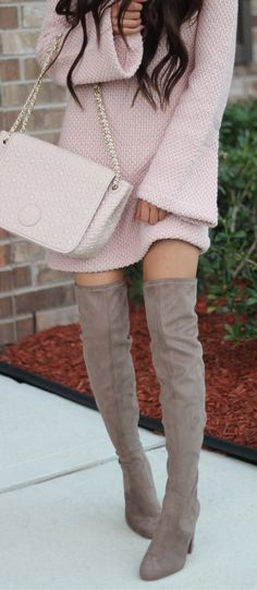 Pink Knit Dress / Pink Shoulder Bag / Grey Velvet OTK Boots