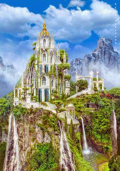 Elfish castle by IgnisFatuusII on DeviantArt My Fantasy World, Fantasy City, Fantasy Castle, Fantasy Places, Medieval Fantasy, Fantasy Art Landscapes, Fantasy Landscape, Fantasy Artwork, Beautiful Castles