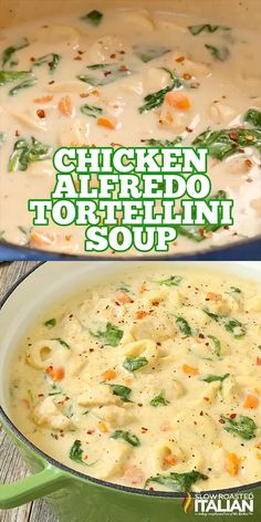 Soup Recipes 96621 Chicken Alfredo Tortellini Soup is like your favorite chicken Alfredo recipe with vegetables in a rich and velvety soup. It is warm and comforting and utterly happy-dance inducing! Best Soup Recipes, Favorite Recipes, Fall Crockpot Recipes, Easy Recipes, Recipes For Four, Blended Soup Recipes, Crock Pot Soup Recipes, Beef Recipes, Summer Soup Recipes