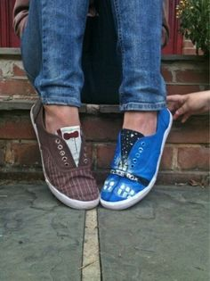 Doctor Who Ten Shoes. so cute...love the little brown one with the bow!
