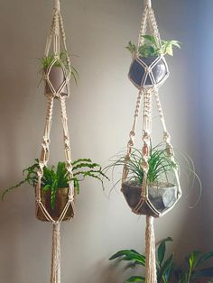 "72"" Large Double Macramé Plant Hanger ""Elegant Simplicity"" Hanging Macramé Brass Copper Beads Two Tier MCM Mid Century Modern Boho Hippie"
