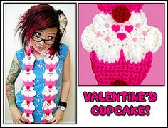 crochet candy hearts scarf twinkie chan - Google Search